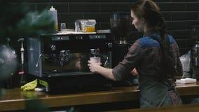 Jeune fille travaillant dans un café banque de vidéos