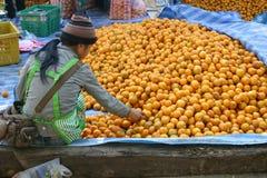 Jeune fille vendant des oranges, Asie du Sud-Est Image libre de droits