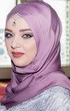 Jeune fin musulmane de fille vers le haut de portrait Photographie stock