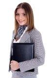 Jeune fixation de femme professionnelle ses fichiers de bureau Image libre de droits