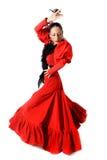 Jeune flamenco espagnol de danse de femme avec des castagnettes dans des ses mains Photo stock