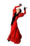 Jeune flamenco espagnol de danse de femme avec des castagnettes dans des ses mains Image libre de droits