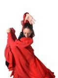 Jeune flamenco espagnol de danse de femme dans la robe rouge folklorique typique Photo libre de droits