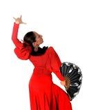 Jeune flamenco espagnol de danse de femme dans la robe rouge folklorique typique Photos libres de droits