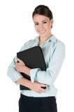 Jeune folio de fixation de femme d'affaires, d'isolement image stock