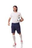 Jeune footballer d'isolement sur le blanc Photo stock