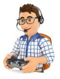 jeune gamer 3D jouant le jeu sur Internet de console Photo stock