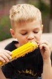 Jeune garçon avec l'épi de maïs dans l'arrière-cour Un garçon ab heureux Photographie stock