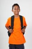 Jeune garçon d'école de sourire 11 avec le sac à dos Photo libre de droits