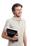 Jeune garçon d'adolescent d'étudiant regardant loin Photographie stock