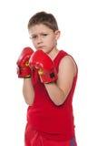 Jeune garçon dans des gants de boxe Photographie stock libre de droits