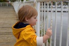 Jeune garçon dans l'imperméable Photographie stock libre de droits