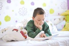 Jeune garçon dans son bâti affichant un livre Photos stock