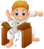 Jeune garçon de bande dessinée cassant le conseil illustration stock