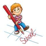 Jeune garçon dessinant le mot dans le crayon rouge illustration stock