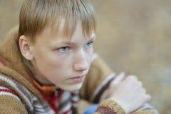 Jeune garçon en parc d'automne Photos stock