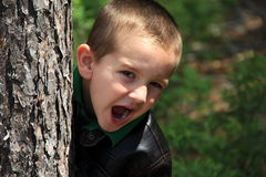 Jeune garçon faisant des visages et se cachant derrière l'arbre Images libres de droits
