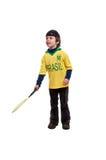 Jeune garçon gai avec la raquette de tennis Photographie stock libre de droits