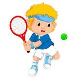 Jeune garçon jouant le tennis avec une raquette illustration de vecteur