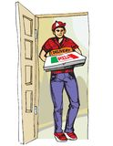 Jeune garçon livrant la boîte chaude à pizza de pizzas Livrez le garçon Image libre de droits