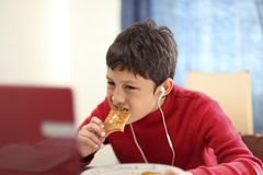 Jeune garçon mangeant du pain grillé de petit déjeuner Images libres de droits