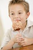 Jeune garçon mangeant la pomme de sucrerie Photo stock