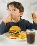 Jeune garçon mangeant le chessburger Photo libre de droits