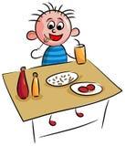 Jeune garçon mangeant le petit déjeuner frit illustration de vecteur