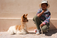 Jeune garçon posant avec un lama de bébé chez Puramamarca sur l'Argentine Photo libre de droits