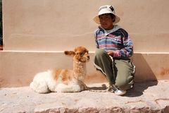 Jeune garçon posant avec un lama de bébé chez Puramamarca sur l'Argentine Images stock