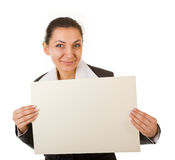 Jeune gestionnaire avec une affiche photos libres de droits