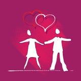 Jeune graphisme de couples, amour, motif de coeur Illustration Libre de Droits