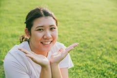 Jeune gros sourire de l'adolescence asiatique innocent mignon Image libre de droits