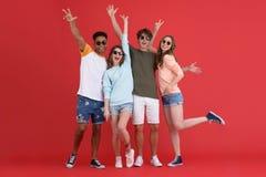 Jeune groupe heureux d'amis se tenant d'isolement Image stock