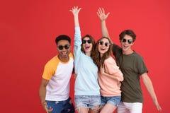 Jeune groupe heureux d'amis se tenant d'isolement Photos stock