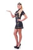 Jeune hôtesse de l'air tenant des mains Image libre de droits