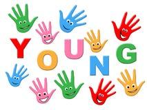 Jeune Handprints indique la jeunesse d'enfants et l'a peint Image libre de droits