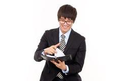 Jeune homme asiatique d'affaires avec l'agenda. Images libres de droits