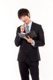 Jeune homme asiatique heureux d'affaires Images libres de droits