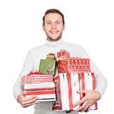 Jeune homme avec des cadeaux Photo libre de droits