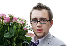 Jeune homme avec des glaces Images libres de droits