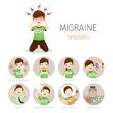 Jeune homme avec des icônes de déclencheurs de migraine réglées Images libres de droits