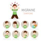 Jeune homme avec des icônes de symptômes de migraine réglées Image stock