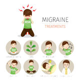 Jeune homme avec des icônes de traitement de migraine réglées Photos stock