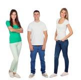 Jeune homme avec deux belles filles Photo libre de droits