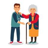Jeune homme avec l'insigne aidant une vieille dame Images libres de droits