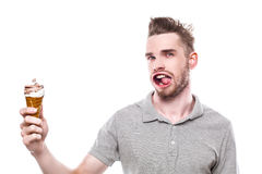 Jeune homme avec la bouche ébouriffée par le vent Photos stock