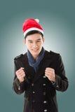 Jeune homme avec le chapeau de Noël image libre de droits