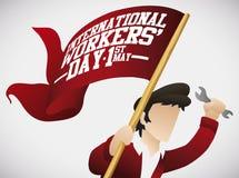 Jeune homme avec le drapeau de bannière pour la célébration du jour des travailleurs, illustration de vecteur Photos stock
