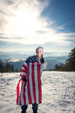 Jeune homme avec le drapeau des Etats-Unis Images libres de droits
